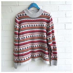 J. Crew Mock Neck Fair Isle Lambs Wool Sweater